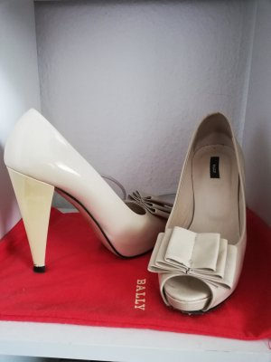 Bally Peep Toe Pumps cream-pale yellow leather