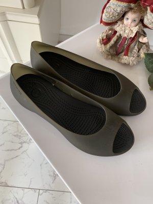 Crocs Ballerines à bout ouvert gris