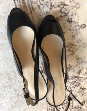 Peeptoes Slingback schwarz Leder Schuhe 39 Nine West