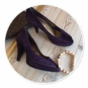 Bianco Peep Toe Pumps dark violet-black leather
