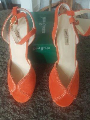 Paul Green Peep Toe Pumps orange-dark orange leather