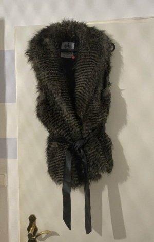 Futrzana kamizelka czarny-jasnoszary