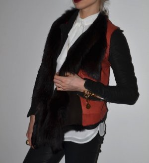 Pelz Fell Leder Weste Fuchs rot braun schwarz