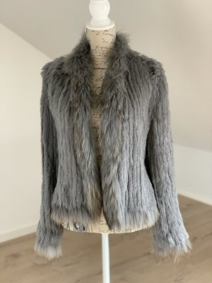 Giacca in pelliccia grigio-argento