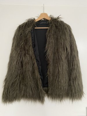 Zara Basic Veste en fourrure gris vert-kaki