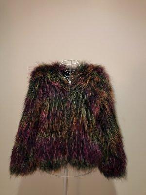 Chaqueta de piel púrpura-verde oscuro