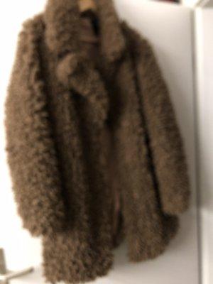 Zara Premium Fake Fur Coat bronze-colored