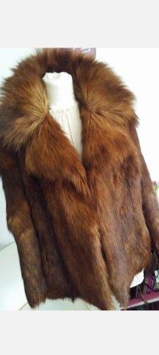 Vintage Abrigo de piel marrón-marrón oscuro