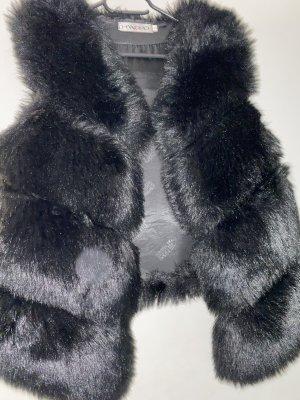 Kamizelka ze sztucznym futrem czarny Futro