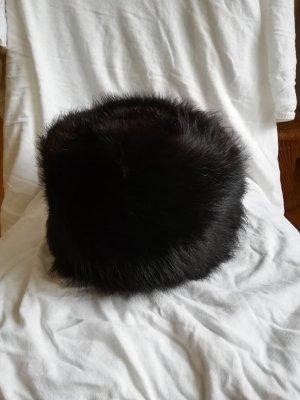 Chapeau en laine noir fourrure