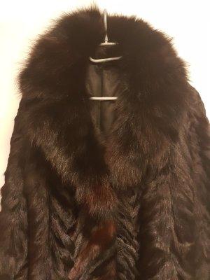 Giacca in pelliccia nero-marrone scuro