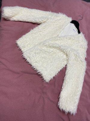 H&M Kurtka ze sztucznym futrem biały-w kolorze białej wełny