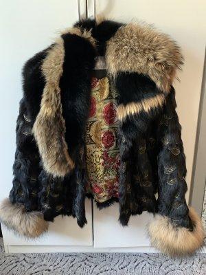 Futrzany płaszcz czarny-jasnobrązowy