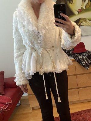 Veste de fourrure blanc cassé