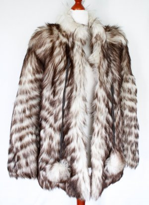 Echtpelz Manteau de fourrure multicolore fourrure