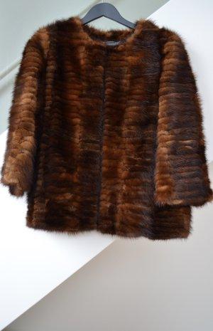 Alberta Ferretti Futrzana kurtka brązowy Futro