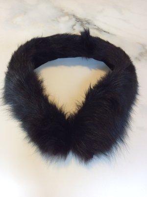 Płaszcz z kapturem czarny-taupe Futro