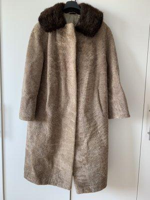 Abrigo de piel marrón claro-marrón-negro