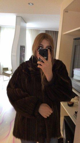 Vintage Manteau de fourrure taupe-brun noir