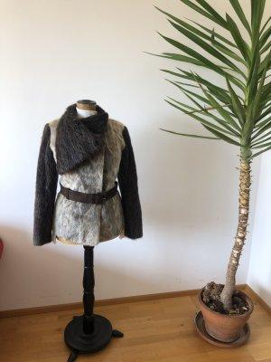Manteau de fourrure gris brun