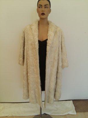 Manteau de fourrure blanc cassé