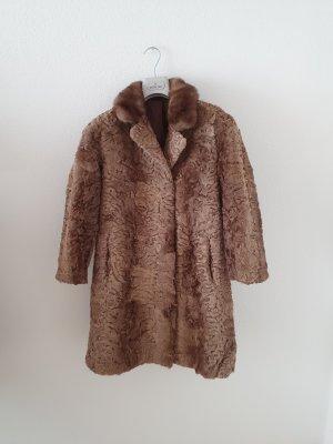 Manteau de fourrure gris brun-marron clair