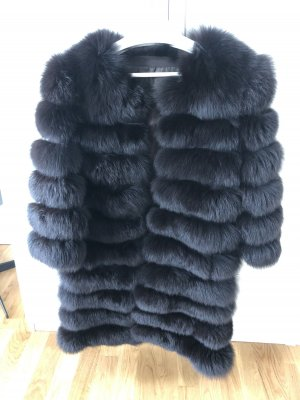 Manteau de fourrure noir-brun noir fourrure