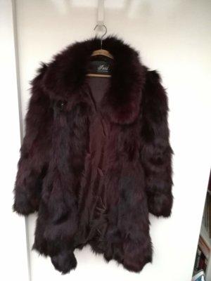 Giacca in pelliccia rosso mora-marrone-viola