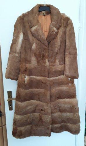 Manteau de fourrure cognac-crème fourrure