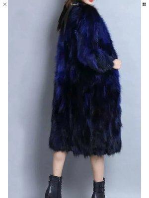 Pelzen jack donkerblauw-blauw