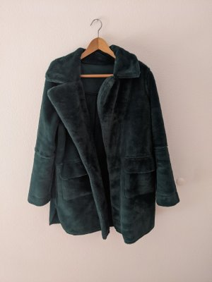 QED London Fake Fur Coat forest green