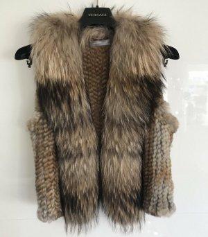 Hallhuber Donna Fur vest grey brown-light brown