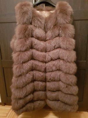 Veste de fourrure gris brun