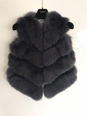 Fur vest slate-gray