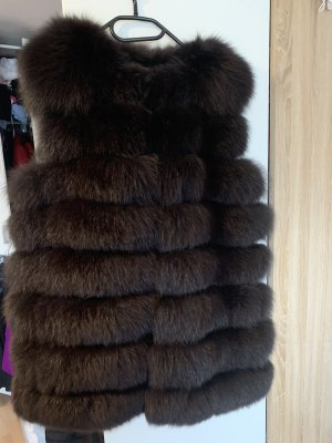 Fur vest black brown pelt