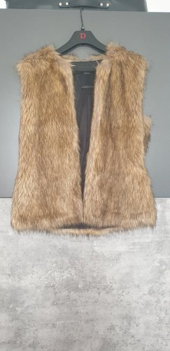 NoName Veste de fourrure noir-brun