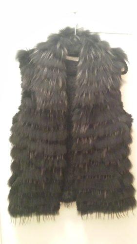 Hallhuber Donna Fur vest black-silver-colored
