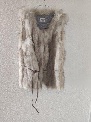 Pimkie Kamizelka ze sztucznym futrem szaro-brązowy-kremowy