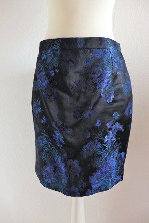 Pencil Skirt Bleistiftrock maßgeschneidert schwarz blau Bume Blüte Gr. 36 S