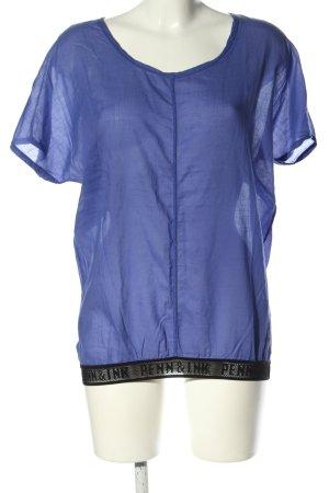 Penn & Ink T-Shirt blau-schwarz Schriftzug gedruckt Casual-Look