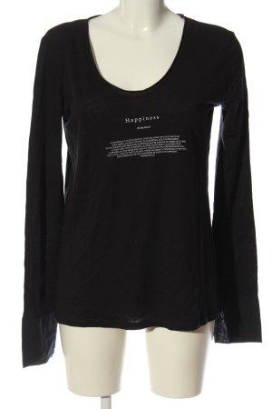 Penn & Ink Koszulka z dekoltem w łódkę czarny-biały Melanżowy
