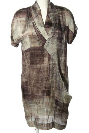 Pennyblack Kurzarmkleid braun-hellgrau abstraktes Muster Casual-Look