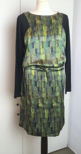 * PENNYBLACK * NEU  ! Kleid 100 % SEIDE Lange Ärmel Wolle grün Muster