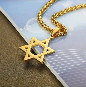 Pentagram Anhänger aus Goldfarbener Chirurgenstahl