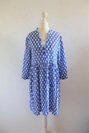 Penyblack Sommer Boho Kleid Seide blau weiß Punkte Gr. S 36/38