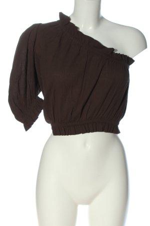 peony Haut avec une épaule dénudée brun imprimé allover style décontracté