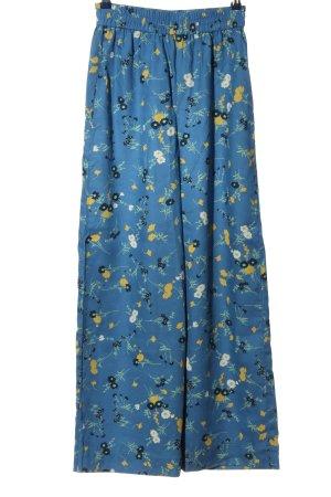 People tree Pantalon «Baggy» bleu-jaune primevère imprimé allover