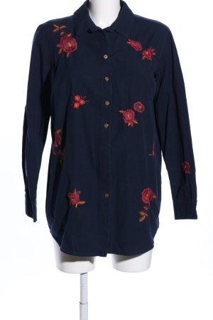 People tree Vestido tipo blusón azul-rojo estampado floral look casual