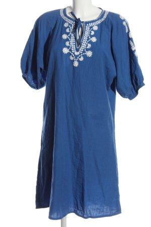 People tree Abito hippie blu-bianco motivo floreale stile casual