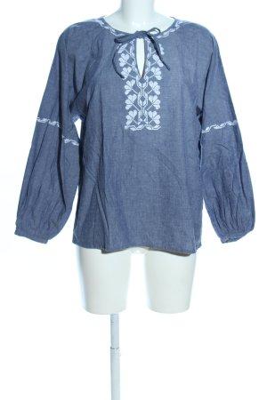 People tree Langarm-Bluse blau-weiß Blumenmuster Casual-Look